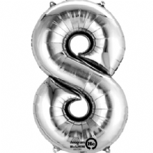 "Silver Number 8 Mini-Foil Balloon (16"" Air) 1pc"